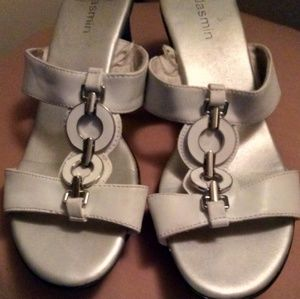 Silver Slip On Heels By Jasmin Women's Size 7